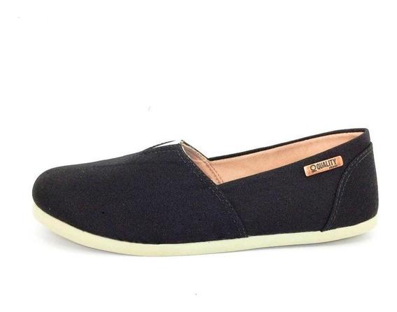 Alpargata Quality Shoes Feminina 001 Floral Lona Preta
