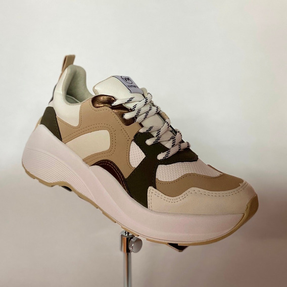 Tênis Feminino Via Marte Bege Branco Chunky Sneaker - At