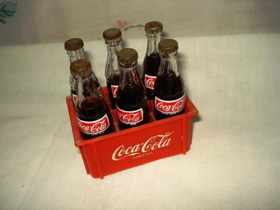Cajoncito Con 6 Botellitas De Coca Cola Colección Miniatura