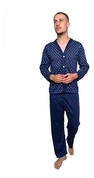 Kit 3 Pijama Masculino De Botao Blusa Comprida Inverno Frio