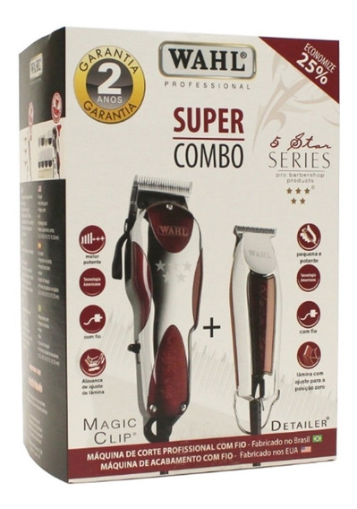 Kit Maquina Wahl P/ Corte Magic Clip E Detailer 110v Ou 220v