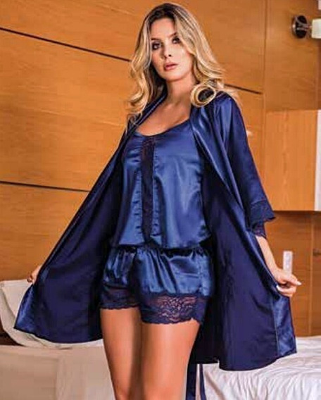 Conjunto Satin Pijama + Kimono Encaje Short Sexy Levantadora