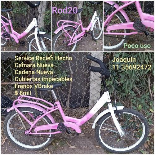 Bicicleta Nena Rosa Y Blanco Rod20