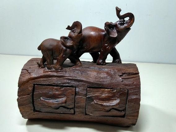 Porta Jóias Elefante Com Filhote No Tronco Em Resina