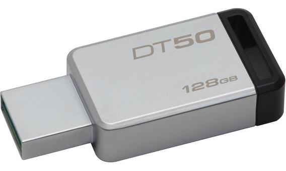 Memoria USB Kingston DataTraveler 50 128GB plateado/negro