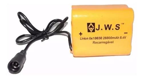 Imagem 1 de 2 de Bateria Farol Bike 8.4v 28800 Mah Jws Nova 6 Pack