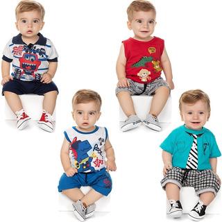 Roupa Bebê Menino Kit 4 Conjuntos Curto De Verão Isensee