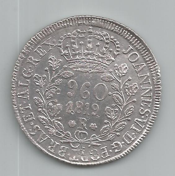 Moeda Prata Brasil - 960 Réis (patacão)- 1819 R - Var Cr-86b