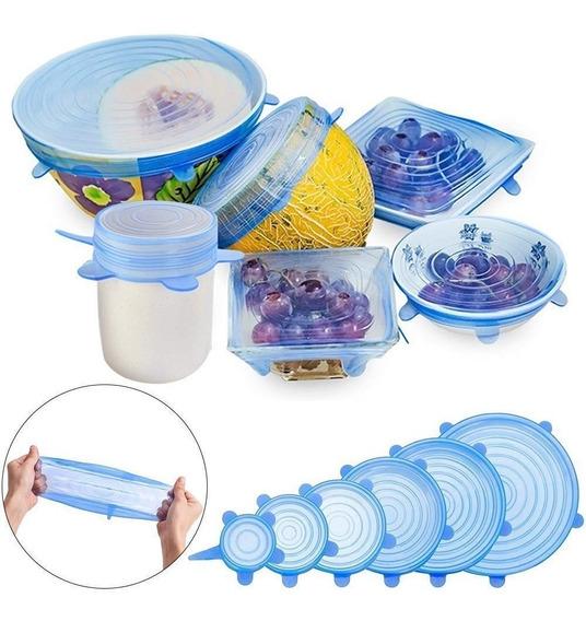 Tapas De Silicona Para Alimentos X 6 Unidades. Muy Flexibles