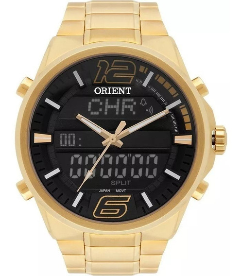 Relógio Orient Masculino Anadigi Dourado - Mgssa001 Pykx
