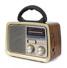 Rádio Retrô Plugx Am Fm Sw Usb Bateria Recarregável - 9776