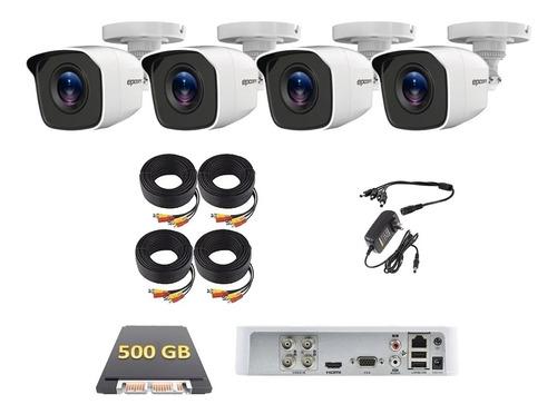 Imagen 1 de 6 de Kit Video Vigilancia 4 Cámaras Hd Cctv Epcom 500gb Lb7kit4p