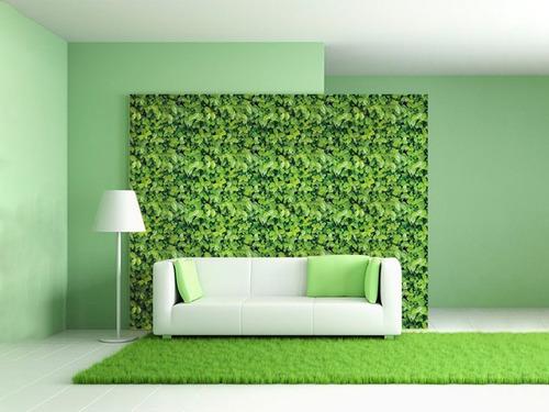 Imagen 1 de 6 de Papel Tapiz Premium Hoja Verde Autoadherible 10 Metros X45cm