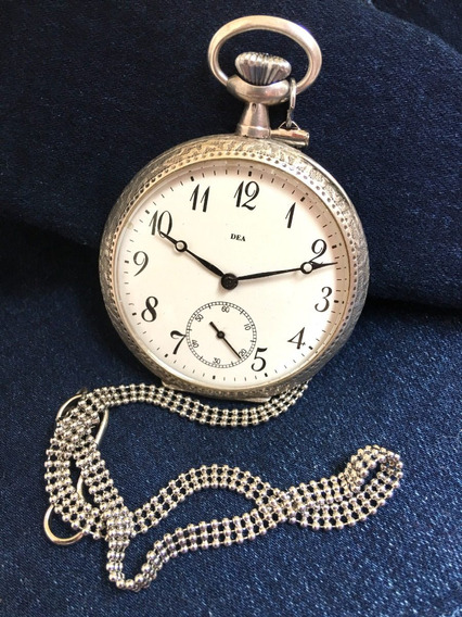 Relógio Nível Ômega Prata Maciça Suiça Teor 875 Marca Dea De 1902 Grandão Impecável Revisado - 13 Anos No Mercado Livre