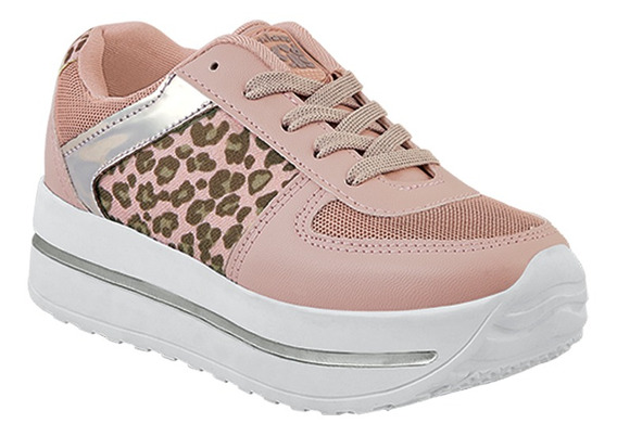 Tenis Sneakers Niña Junior Animal Print Rosa Plataforma