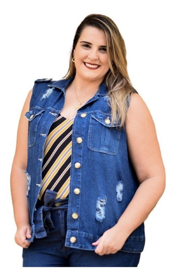Max Colete Jeans Feminino Tradicional Plus Size Com Bolso