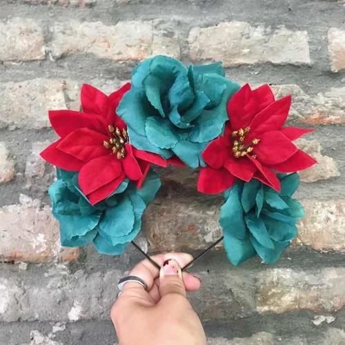 Vincha De Flores Rojas Verdes Dorado Navidad Año Nuevo 2021