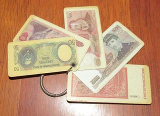 Llavero Billetes Chilenos Años 80´s Vintage Numismatico(c85)