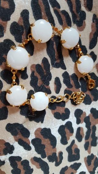 Pulseira De Ouro Com Pedras Naturais Brancas