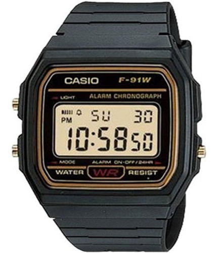 Relógio Casio Digital F91wg9qdf Preto Illuminator Original
