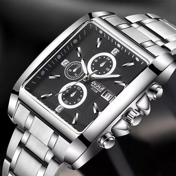 Relógio Barato Analógico Aço Cromo Bosck Masculino Quadrado
