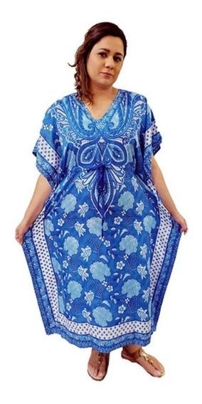 Vestido Kaftan Indiano Longo Estampado Plus Size