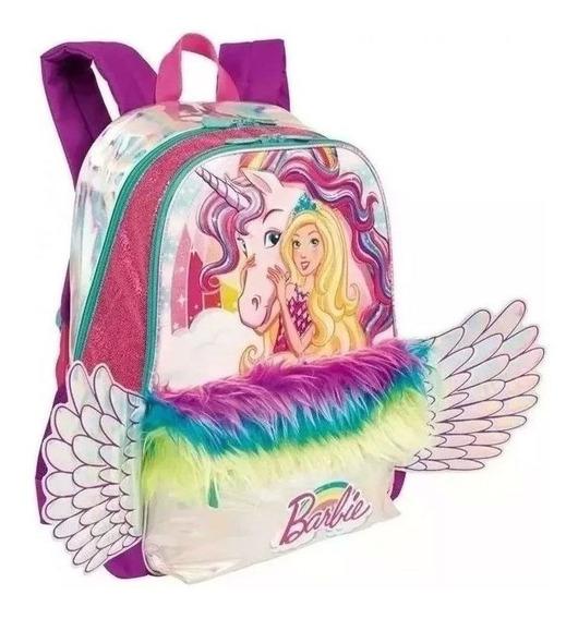 Mochila Costas Barbie C\ Asas E Led Sestini Meninas Infantil