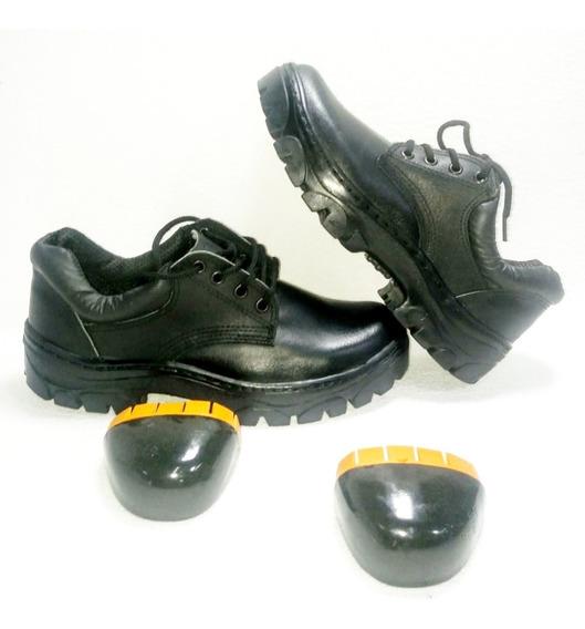 108 Neg Zapato De Trabajo Cuero Suela De Caucho Krapert
