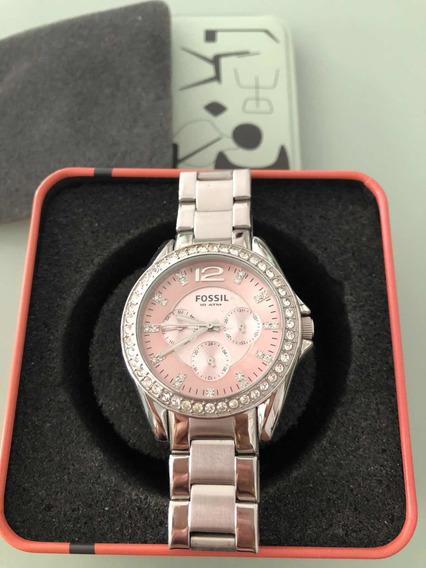 Relógio Fóssil Feminino Usado Original Prata Com Rosa