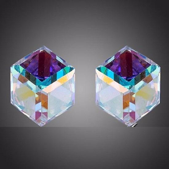 Brincos Feminino Cubos Stellux Cristal Austríaco Importado