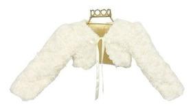 Bolero Infantil De Pelo Off White Para Usar Com Vestido B200