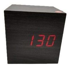 Relógio Digital E Despertador Led Madeira - Preto