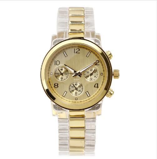 Relógio De Luxo Feminino Casual Cor Dourado Pulseira Resina
