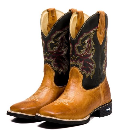 Botina Country Masculina Texana Bico Quadrado Couro Legitimo