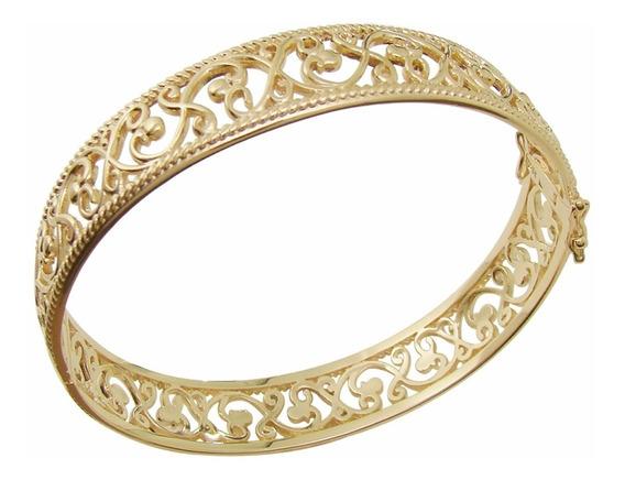Braceletes Femininos Dourado Largo Vazado Bruna Semijoias