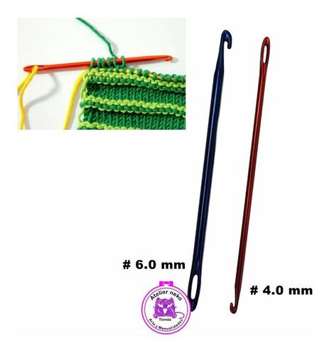 Set X2 Agujas Para Knooking Crochet Ojal De 4mm Y 6mm Tejer