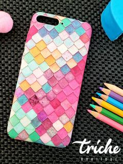 Funda Case Mosaico Colores Sirena Dama Huawei Y6 2018