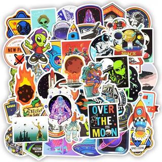 Alien Espacio Astronauta 50 Stickers Pvc Contra Agua Premium