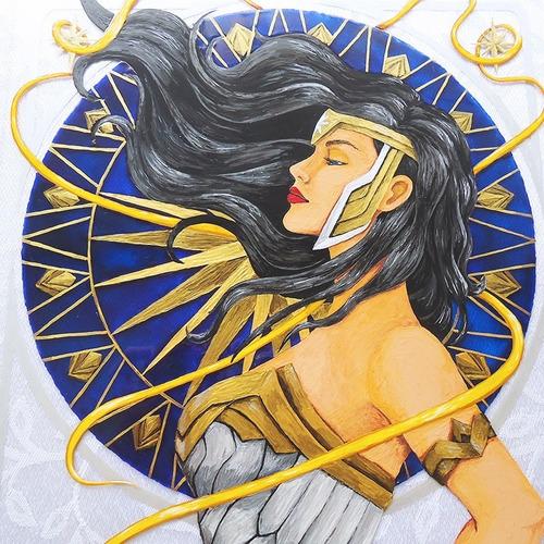 Pintura Em Vidro Inspirado Na Mulher Maravilha Wonder Woman
