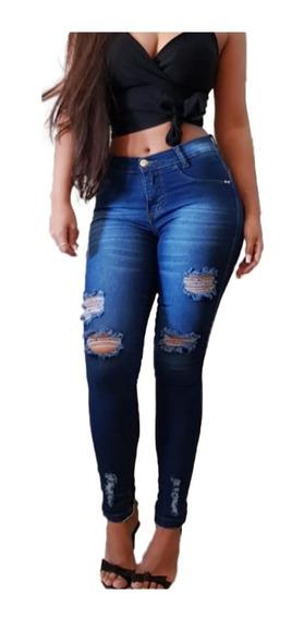 Kit 03 Calças Jeans Feminina Cintura Alta Levanta Bumbum