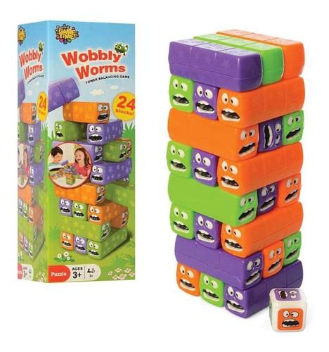 Imagen 1 de 3 de Juego De Mesa Modo Jenga - Wobbly Worms Torres Y Bloques