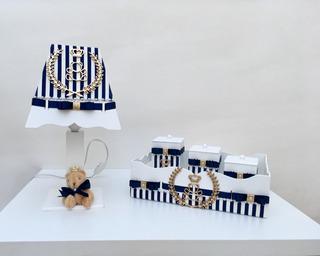 Kit Higiene Mdf Ursinho Azul Marinho Faramçinha Abajur