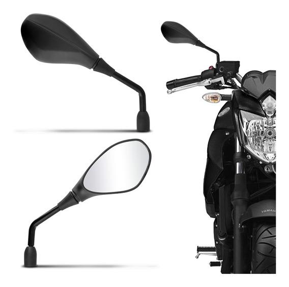 Retrovisor Moto Modelo Bmw Gs 650 Rosca Universal Yamaha Haste Em Aço Preto E Espelho Fumê