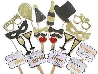 Fiesta Tarjeta 23pcs 2018 Año Nuevo Máscaras Foto Stand