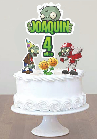 Cake Topper Personalizado Adorno Torta Plants Vs Zombies