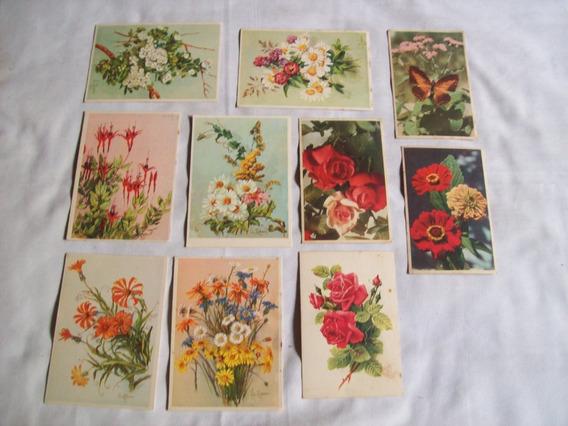Lote De 10 Antiguas Tarjetas Postales - Motivos De Flores