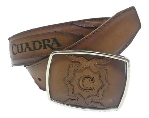 Cinturón Cuadra Piel Res Color Castaño Hebilla Borde Plata