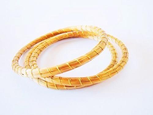 3 Pulseiras De Capim Dourado Jalapão Delicada Fina 7cm