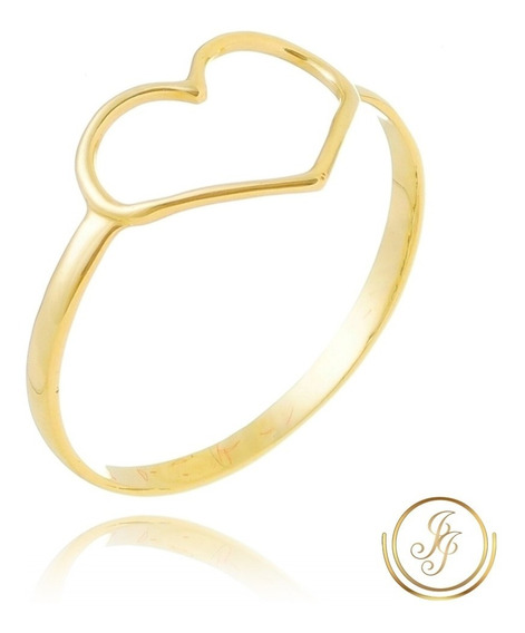 Promoção Anel Coração Ouro 18 Kl Vazado Modelo Maior