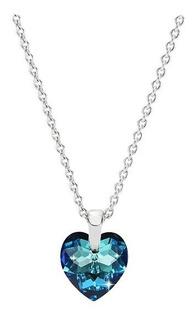 Collar Para Mujer Cristal Corazón Swarovski Azul